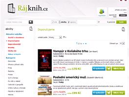 On-line e-shop RájKnih patří mezi ty na první pohled bohatěji zásobené zdroje