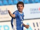Davor Kukec z Ostravy se raduje z vyrovnávacího gólu na 1:1 v utkání proti