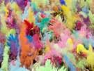 REJ BAREV. Náv�t�vníci festivalu barev v Berlín� vyhazují do vzduchu barevný...