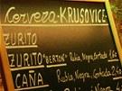 I v baru v centru baskického Bilbaa se servíruje české pivo čili po španělsku cerveza. Tady je důkaz.