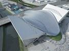 """Vizualizace: London Aquatics Centre - """"přídavná""""  křídla po olympiádě zmizí."""