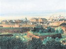 Pohled na jihozápadní stranu opevnění Olomouce zachytil v roce 1895 na obraze