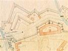 Plán olomoucké pevnosti z roku 1876 ukazuje Malou Moravu při ústí do Olomouce.