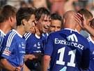 OLOMOUCKÁ RADOST. Fotbalisté Sigmy se radují z gólu proti Slovácku.