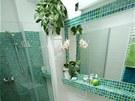 Koupelna a doplňky jsou laděné do svěží zelené barvy.