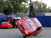 Na parkovišti před českobudějovickým výstavištěm mohli zájemci shlédnout...