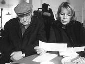 Jiří Krejčík v roce 2002 s Alenou Činčerovou při natáčení televizního profilu