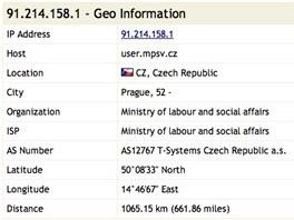Detailn� informace o IP adrese z ministerstva pr�ce a soci�ln�ch v�c�.