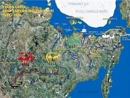 Mapka zachycující velkou cestu Jana Eskymo Welzla Sibiří v letech 1895-1898,