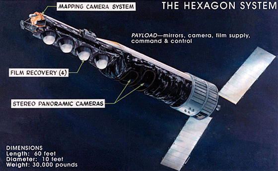 Družice systému Hexagon disponovaly čtyřmi kapslemi s filmem a soupravou...