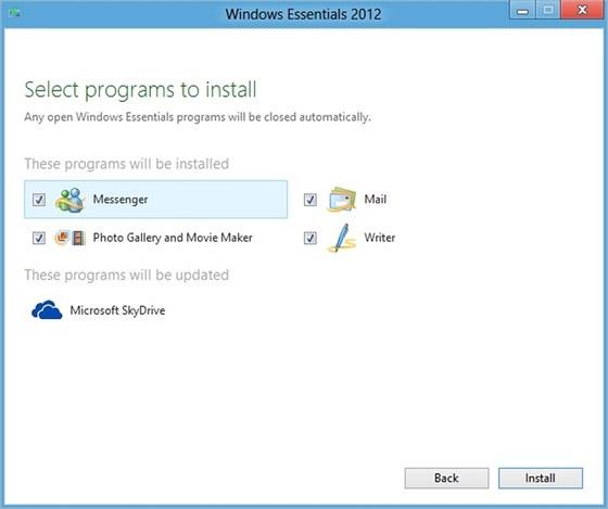 Není třeba instalovat celý balík Windows Essentials 2012, použít můžete jen