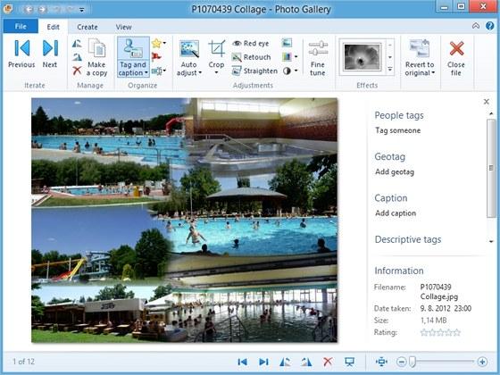 Novou funkcí aplikace Photo Gallery je automatické vytváření koláží z několika