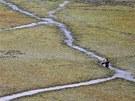 PLAVBA MEZI O�ECHY. Ka�mírský vesni�an si prorá�í cestu po jeze�e Wular