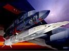 Hypersonický letoun X-51A Waverider pod křídlem letadla B-52 Stratofortress,