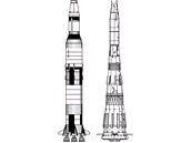 Rakety Saturn V a N1 (nejsou ve stejném měřítku)