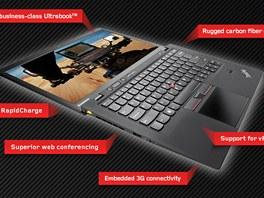 Ultrabook Lenovo ThinkPad X1 Carbon má tělo z uhlíkových vláken.