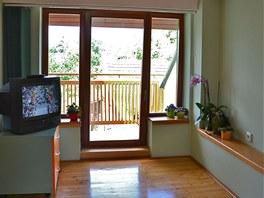 Výhled do zahrady vede přes francouzské okno a balkon.