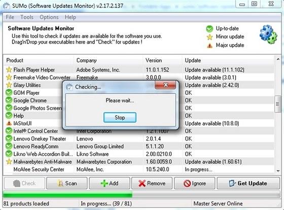 Bezplatně použitelný program SUMo spolehlivě ohlídá aktualizace instalovaného