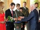 České medailisty z olympijských her v Londýně přijal ve čtvrtek ve svém sídle