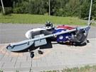 Mladý motorkář nezvládl ve Filipovicích na Jesenicku průjezd zatáčkou, zachytil