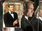 Roger Moore coby James Bond (1974) a Daniel Craig ve stejn� roli (2008)