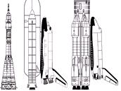 Srovnání tří nosičů: rakety Sojuz, amerického raketoplánu a soustavy rakety Eněrgija a raketoplánu Buran