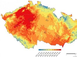 Teplotn� mapa ze 20. srpna 2012, kdy ve st�edo�esk�ch Dob�ichovic�ch padl �esk�