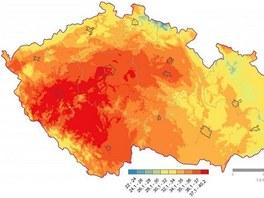 Teplotn� mapa z roku 1983, kdy byla zaznamen�na rekordn� teplota 40,2 �C.