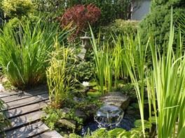 Vodní fontánka přináší příjemný zvuk zurčící vody až do obývacího pokoje.