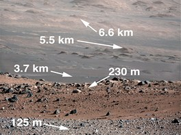 Zobrazení vzdálenosti objektů na snímku ze 100mm systému Mast Camera.