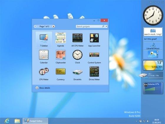 8GadgetPack vrátí na pracovní plochu Windows 8 nejen postranní panel s hodinami