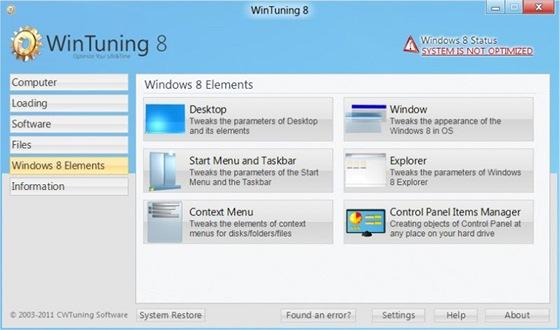 WinTuning 8 je nástroj na úpravu skrytých nastavení operačního systému,