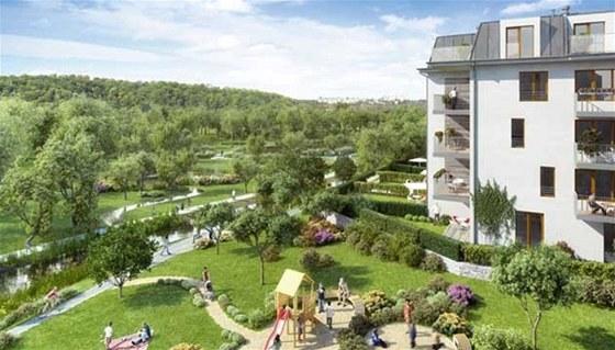 Pohled z balkónu do nově budovaného parku