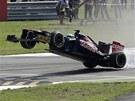 SKONIL JAKO PRVN. Jean-Eric Vergne z tmu Toro Rosso ukzal svou nezkuenost