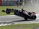 SKON�IL JAKO PRVN�. Jean-Eric Vergne z t�mu Toro Rosso uk�zal svou nezku�enost