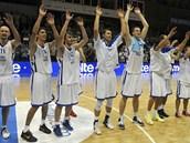 Radost �eských basketbalist� po výh�e nad Portugalskem.
