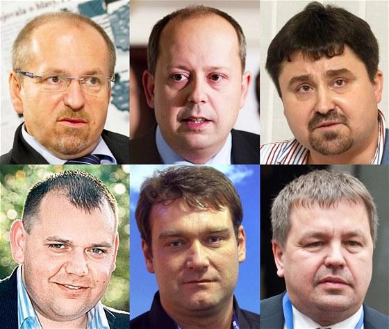 Šestice rebelů v ODS (nahoře zleva: Ivan Fuksa, Marek Šnajdr, Tomáš Úlehla, Jan