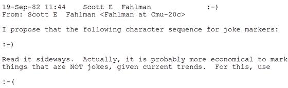 Původní příspěvek do diskuze, ve kterém Scott Fahlman poprvé použil emotikony
