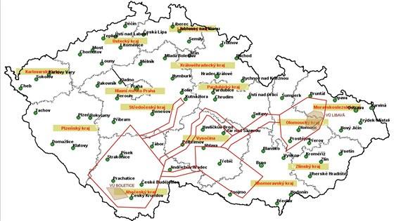 Mapa míst, ve kterých budou létat letadla a vrtulníky v rámci mezinárodního