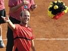 TU M�TE. Belgick� tenista Olivier Rochus h�z� po v�t�zstv� v daviscupov�