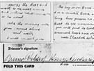 Únoscovo písmo a rukopis Bruna Richarda Hauptmanna. Podle policie obě písma
