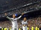 ŠŤASTNÝ STŘELEC. Cristiano Ronaldo z Realu Madrid (vlevo) se raduje ze
