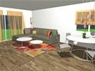 Interiér obývací části a jídelního koutu je v neutrálním tónech, výrazný je