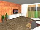 Na stěně za televizí je dekorativní výmalba Oikos v měděném provedení.