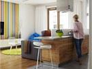Z�kladem bytu je b�l� barva, dopln�n� o masivn� dubov� podlahy, olivov� d�evo
