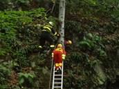 Hasiči zachraňují houřku ze skály v Odrách-Klokočůvku na Novojičínsku.