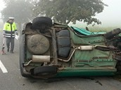 Dopravní nehodu u Stračova na Hradecku řidič nepřežil (14. 9. 2012)