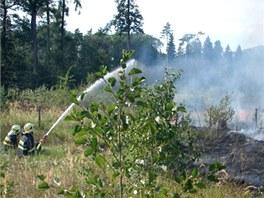 Hasiči při likvidaci lesního požáru nedaleko Ostravy. (10. září 2012)