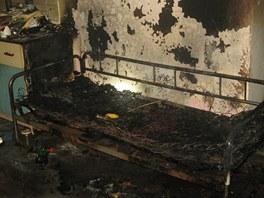 Požár bytu v Dlouhé Loučce na Olomoucku.