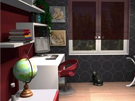 Pohled do jednoho z pokojů bytu 3+kk Na Vinici.
